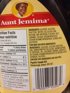 Image result for aunt jemima syrup ingredients